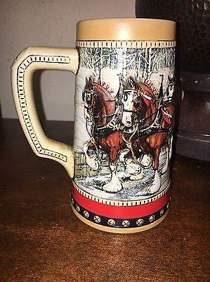 1988 Budweiser Beer Stein Clydesdale Collector Series Holiday Mug