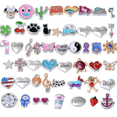 Floating Charms for Glass Living Memory Lockets Wholesale Price - Lot Mix 50PCS