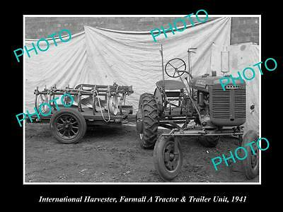Old Historic Photo Of International Harvester & Farmall A Tractor Unit 1941 1