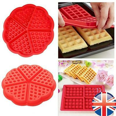 Red Silicone Mini Round Square Waffles Pan Cake Baking Mould Mold Waffle Tray