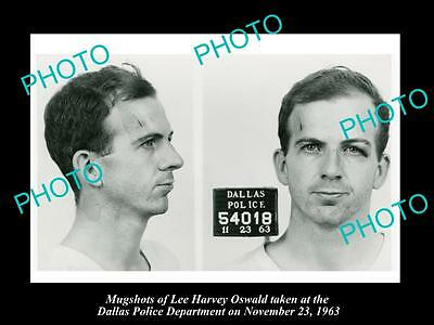 Old Large Historic Photo Of Lee Harvey Oswald Mugshot, Jfk Assasination 1963