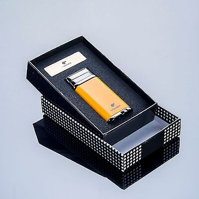 Cohiba Yellow  Chrome Steel Single TorchCigar Cigarettes Lighter w/ Punch