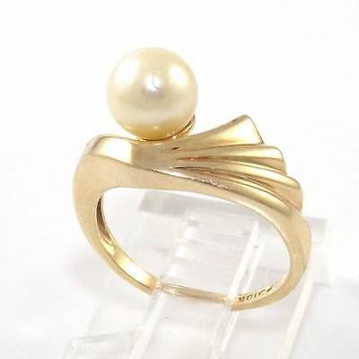 10K Yellow Gold 7mm Pearl Ribbed Ring Size 4.5