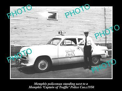 Old Large Historic Photo Of Memphis Tennessee Captain Of Traffic Police Car 1950