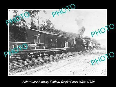 Old Large Historic Photo Of Point Clare Nsw, Gosford, The Railway Station 1930 1