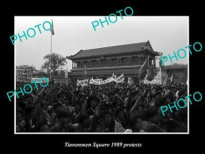 Old Large Historic Photo Of 1989 Tiananmen Square Protests, Angry Students