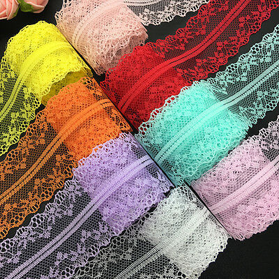 10yds Bilateral Handicrafts Embroidered Net Lace Trim Ribbon Bow Crafts #UK