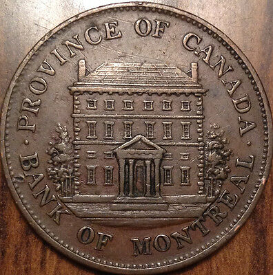 1844 Lower Canada Bank Of Montreal Half Penny Token In Outstanding Condition !