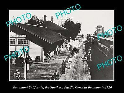 OLD HISTORIC PHOTO OF BEAUMONT CALIFORNIA, SOUTHERN PACIFIC RAILROAD DEPOT c1920