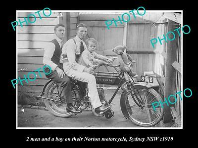 Old Large Historic Photo Of A Man & Boy With This Norton Motorcycle 1910, Sydney