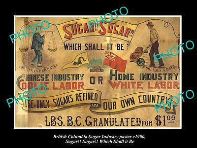 OLD HISTORIC PHOTO OF CANADA SUGAR INDUSTRY POSTER, CHINESE LABOR PROTEST c1900