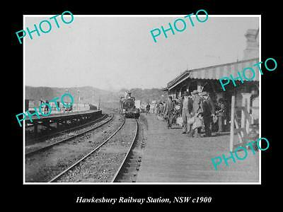 OLD LARGE HISTORIC PHOTO OF THE HAWKESBURY RAILWAY STATION, c1900 NSW