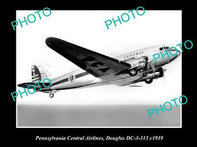 Old Historic Aviation Photo Pennsylvania Central Airlines Douglas Dc-3 1939