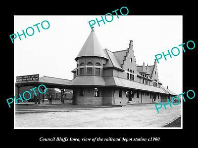OLD LARGE HISTORIC PHOTO OF COUNCIL BLUFFS IOWA, RAILROAD DEPOT STATION c1900