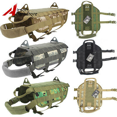 Tactical K9 Dog Vest Military Molle US Police Service Canine Vest Harness XS-XL