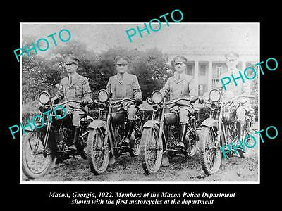 OLD LARGE HISTORIC PHOTO OF MACON GEORGIA, THE POLICE MOTORCYCLE UNIT c1922