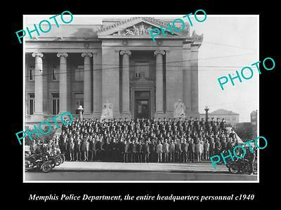 Old Large Historic Photo Of Memphis Tennessee The Police Headquarters Staff 1940