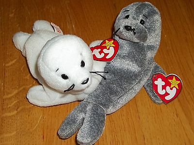 "Set of 2 NWT TY Beanie babies 6"" SEAMORE style 4029 SLIPPERY Seal Plush"
