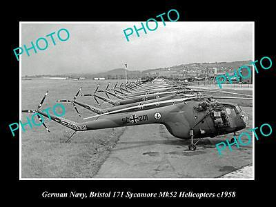 OLD LARGE HISTORIC PHOTO OF GERMAN NAVY, BRISTOL SYCAMORE HELICOPTERS c1958