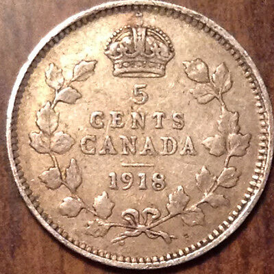 1918 Canada Silver 5 Cents In Good Condition