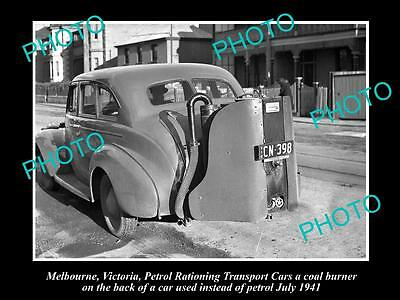 Old Historical Photo Of Car Running On A Coal Burner, Petrol Rationing, 1941
