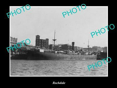 OLD LARGE HISTORIC MERCHANT SHIP PHOTO OF THE STEAMSHIP SS ROCHDALE c1920s