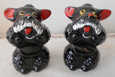 Vintage Salt and Pepper Shakers Black Poodles Ceramic 1950s Japan