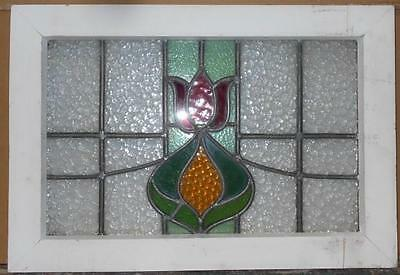 "OLD ENGLISH LEADED STAINED GLASS WINDOW Floral Swoop 21.25"" x 15"""
