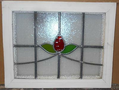 "OLD ENGLISH LEADED STAINED GLASS WINDOW Floral Swag 19.5"" x 15.75"""