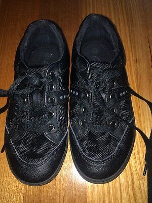 clarks black laced runners. size 34 school shoes