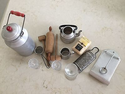 Lot of Antique Miniature Doll Kitchen toys