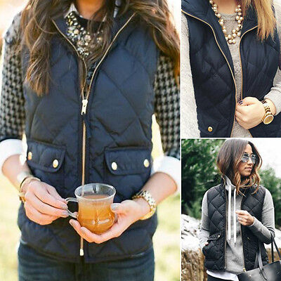 Woman Casual Winter Warm Sleeveless Pocket Zipper Outwear Vest Coat Waistcoats