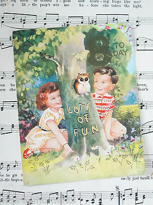 A Vintage Greetings Card - Lots Of Fun 8 Today, Little Owl, Fantastic Graphics
