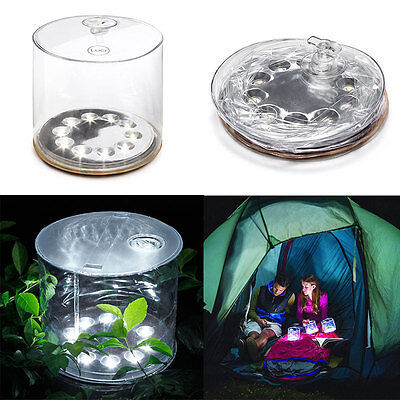 10LED Solar Powered Foldable Inflatable Waterproof Light Lamp For Garden Yard