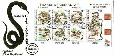 Gibraltar 2001 Year of the Snake MS FDC