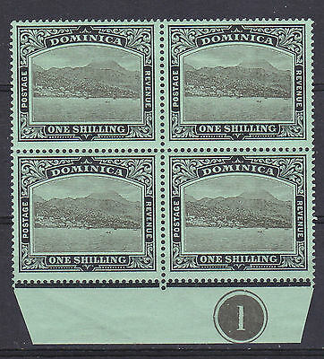 Dominica 1910  control block of 4 1/- black on green mint hinged