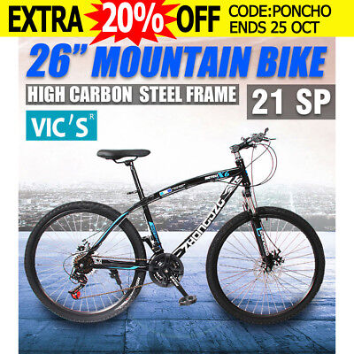 "MTB Mountain Bike 26Inch Shimano Gears 21-Speed Bicycle 17"" Unisex Black Blue"