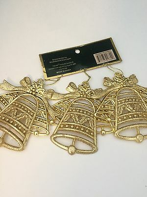 New Bell Christmas Tree Ornaments Gold Flat Decorations