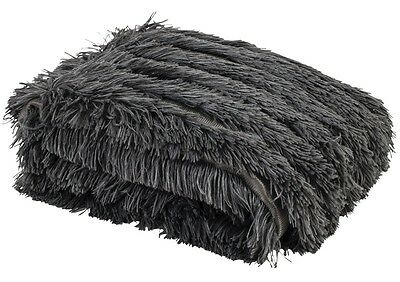 Ladelle Chateau Charcoal Long Haired Faux Fur Throw - 127cm x 152cm
