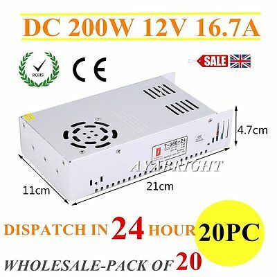 DC 200W 12V 16.7A Universal Regulated Switching Power Supply for LED Strip CCTV