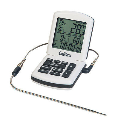 White ChefAlarm® professional cooking thermometer & count up / down timer