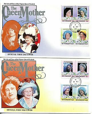 St Vincent 1985 Queen Mother set of 2 FDC