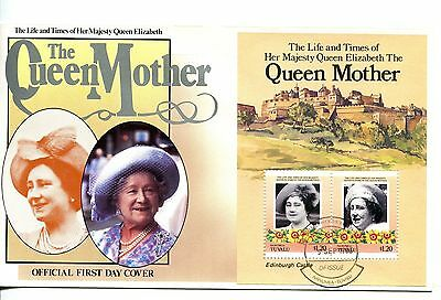 Tuvalu Nanumea 1985 Queen Mother MS FDC