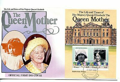 Tuvalu Nui 1985 Queen Mother MS FDC