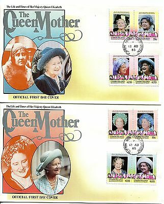 Union Island 1985 Queen Mother set of 2 FDC