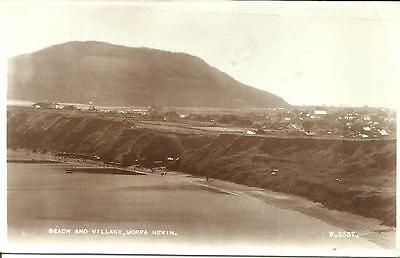Morfa Nevin 'THE BEACH and VILLAGE real photographic postcard Postally used 1953