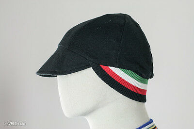 Vintage style merino wool CYCLING CAP double sided black / italy