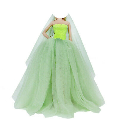 Fairy Green Princess Party Dress Gown Veil Clothes For Barbie Doll Toy Xmas Gift