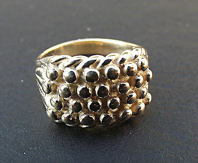 Children's 9ct Solid Yellow Gold Four Row Keeper Ring 2.5 grams Kids Size only