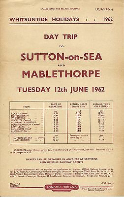 BR handbill: day trip from Rugby, Leicester etc to Sutton-on-Sea, Mablethorpe 19